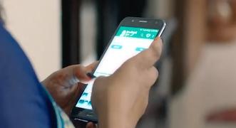 Woman using Maya app